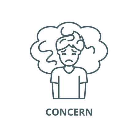 Concern line icon, vector. Concern outline sign, concept symbol, illustration