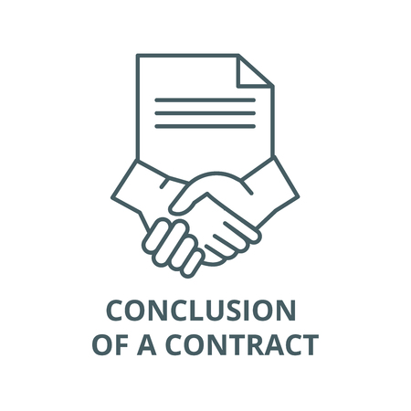 Conclusion of a contract line icon, vector. Conclusion of a contract outline sign, concept symbol, illustration