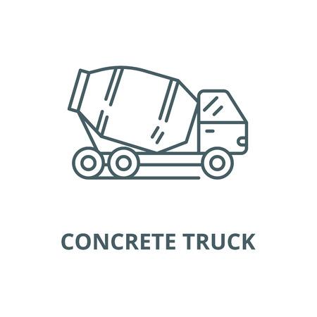 Concrete truck line icon, vector. Concrete truck outline sign, concept symbol, illustration Illustration