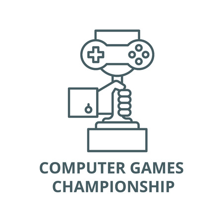 Computer games championship line icon, vector. Computer games championship outline sign, concept symbol, illustration  イラスト・ベクター素材