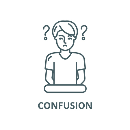 Confusion line icon, vector. Confusion outline sign, concept symbol, illustration Ilustração