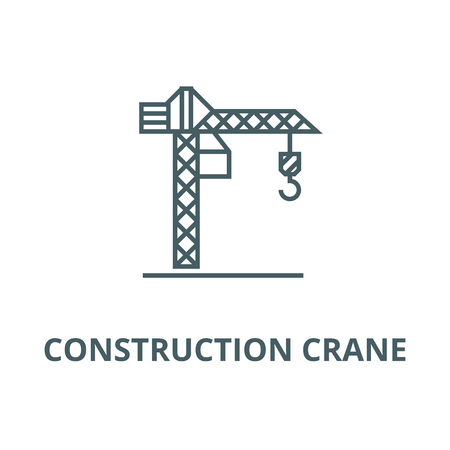 Construction crane  line icon, vector. Construction crane  outline sign, concept symbol, illustration Ilustração