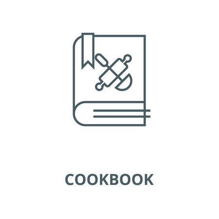 Cookbook, recipe book line icon, vector. Cookbook, recipe book outline sign, concept symbol, illustration