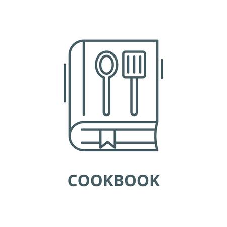 Cookbook line icon, vector. Cookbook outline sign, concept symbol, illustration