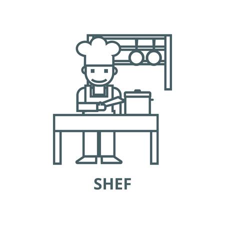 Cooker,shef,kitchen, restaurant line icon, vector. Cooker,shef,kitchen, restaurant outline sign, concept symbol, illustration Illustration