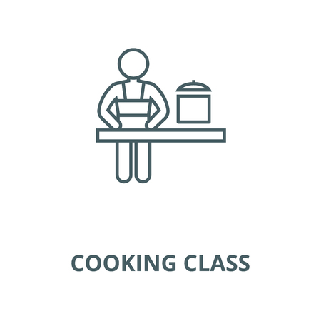 Cooking class line icon, vector. Cooking class outline sign, concept symbol, illustration Illustration