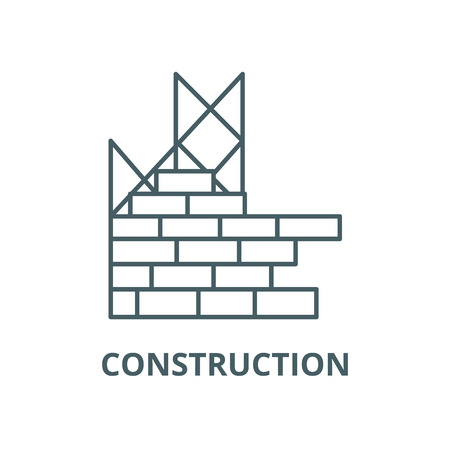 Construction, building brick wall line icon, vector. Construction, building brick wall outline sign, concept symbol, illustration Stock Illustratie