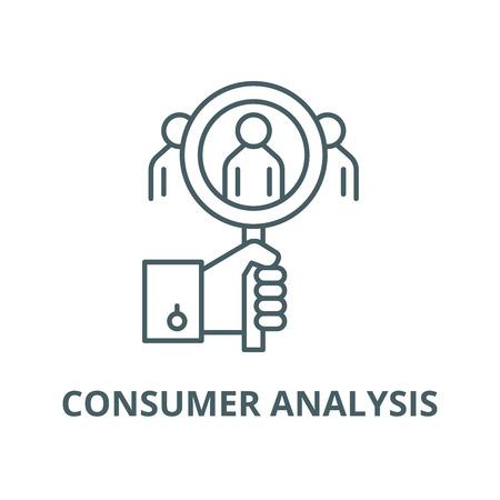 Icône de ligne d'analyse des consommateurs, vecteur. Signe de contour d'analyse de consommateur, symbole de concept, illustration
