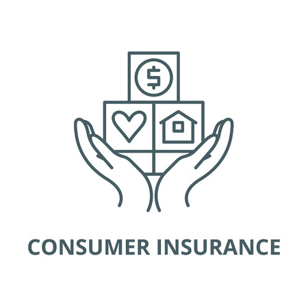 Consumer insurance line icon, vector. Consumer insurance outline sign, concept symbol, illustration