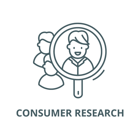 Consumer research line icon, vector. Consumer research outline sign, concept symbol, illustration