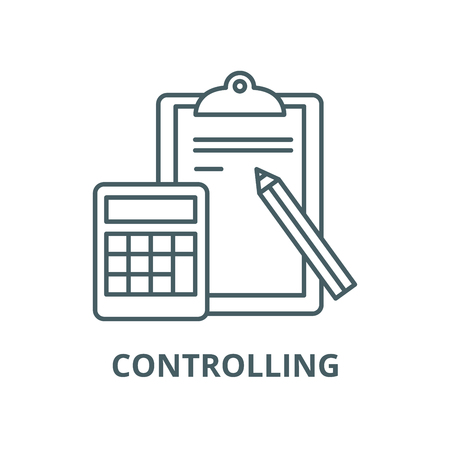 Controlling line icon, vector. Controlling outline sign, concept symbol, illustration Illustration