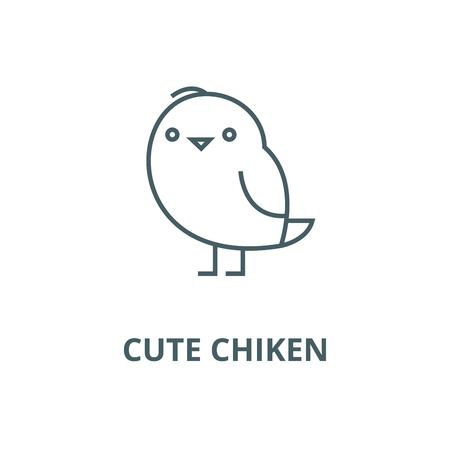 Cute chiken  line icon, vector. Cute chiken  outline sign, concept symbol, illustration Illustration