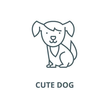 Cute dog line icon, vector. Cute dog outline sign, concept symbol, illustration