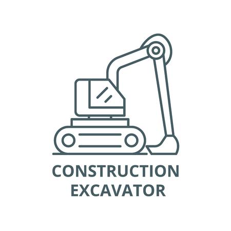 Construction excavator line icon, vector. Construction excavator outline sign, concept symbol, illustration