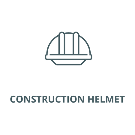 Construction helmet  line icon, vector. Construction helmet  outline sign, concept symbol, illustration
