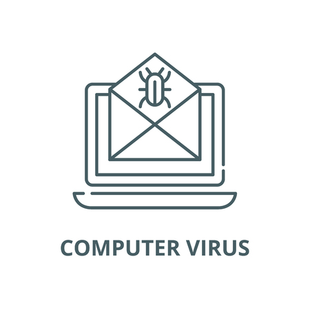 Computer virus line icon, vector. Computer virus outline sign, concept symbol, illustration 向量圖像