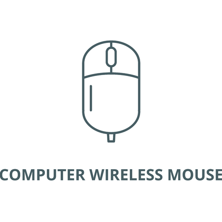 Computer wireless mouse line icon, vector. Computer wireless mouse outline sign, concept symbol, illustration