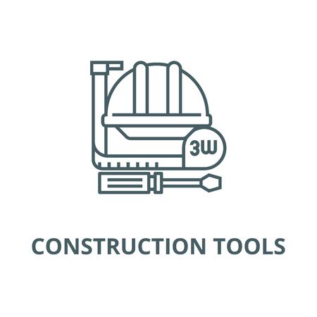 Construction tools,meter, hard  line icon, vector. Construction tools,meter, hard  outline sign, concept symbol, illustration
