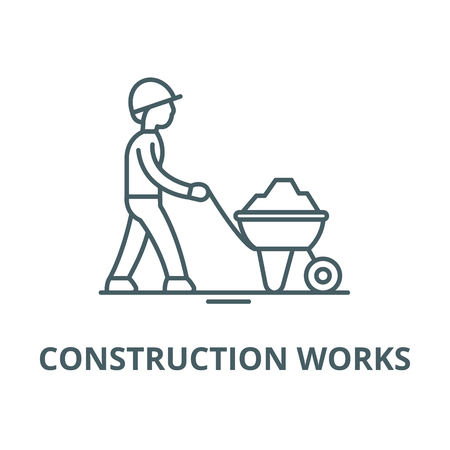 Construction works line icon, vector. Construction works outline sign, concept symbol, illustration