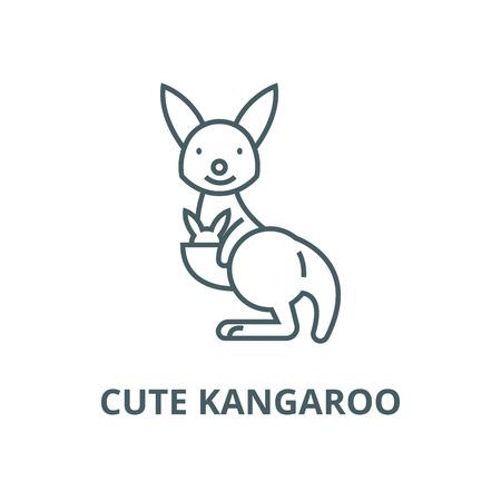 Cute kangaroo line icon, vector. Cute kangaroo outline sign, concept symbol, illustration