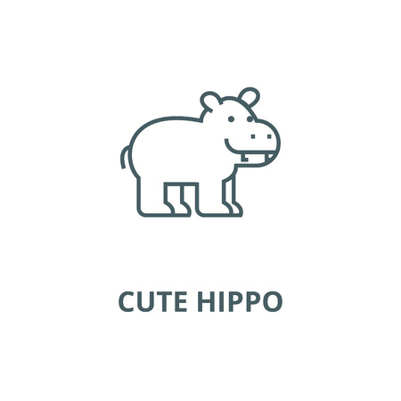 Cute hippo line icon, vector. Cute hippo outline sign, concept symbol, illustration
