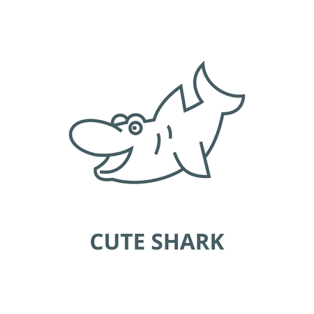 Cute shark line icon, vector. Cute shark outline sign, concept symbol, illustration