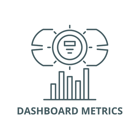 Dashboard metrics line icon, vector. Dashboard metrics outline sign, concept symbol, illustration Illustration