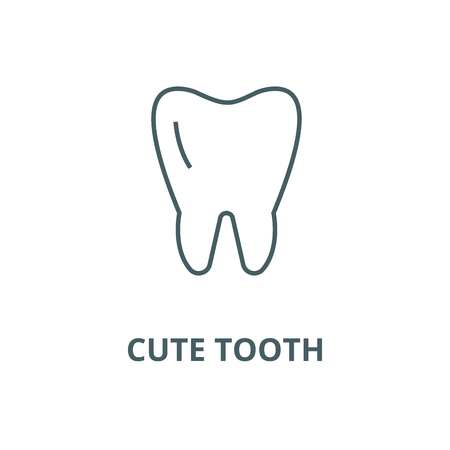 Cute tooth line icon, vector. Cute tooth outline sign, concept symbol, illustration