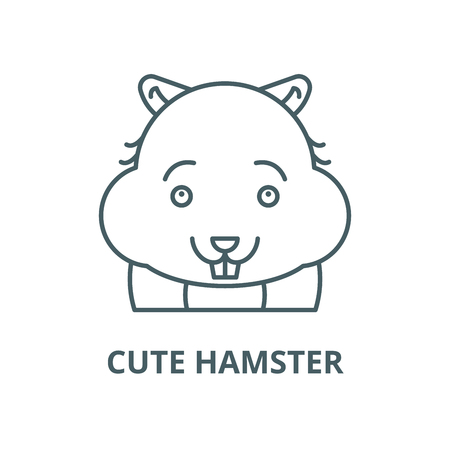 Cute hamster line icon, vector. Cute hamster outline sign, concept symbol, illustration Standard-Bild - 120581487