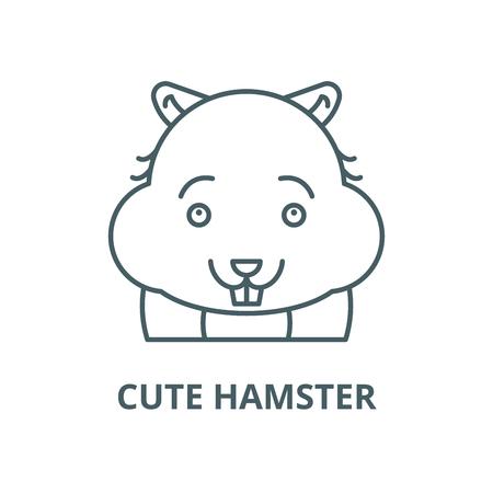 Cute hamster line icon, vector. Cute hamster outline sign, concept symbol, illustration Illustration