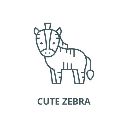 Cute zebra line icon, vector. Cute zebra outline sign, concept symbol, illustration