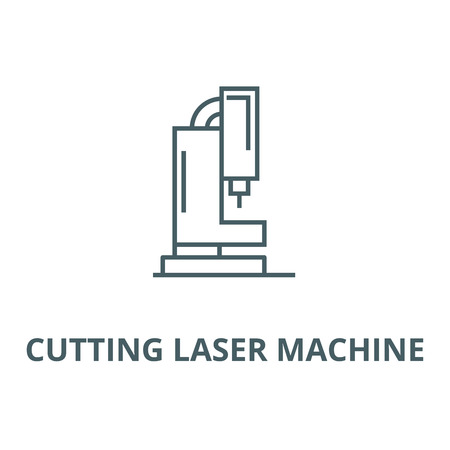 Cutting laser machine line icon, vector. Cutting laser machine outline sign, concept symbol, illustration