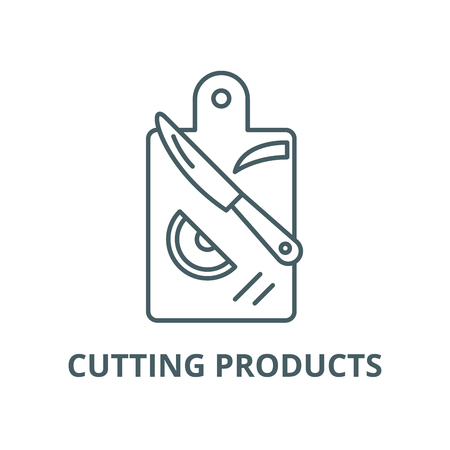 Cutting products line icon, vector. Cutting products outline sign, concept symbol, illustration Illustration