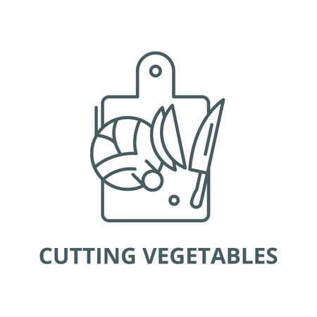 Cutting vegetables line icon, vector. Cutting vegetables outline sign, concept symbol, illustration