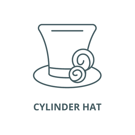 Cylinder hat line icon, vector. Cylinder hat outline sign, concept symbol, illustration