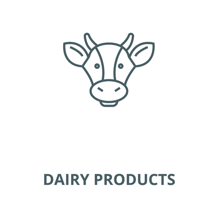 Dairy products, cow head line icon, vector. Dairy products, cow head outline sign, concept symbol, illustration