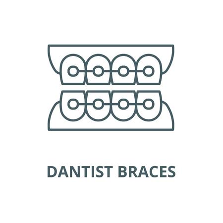 Dantist braces line icon, vector. Dantist braces outline sign, concept symbol, illustration Stock Vector - 123715973