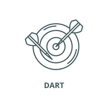 Icono de línea de dardo, vector. Signo de contorno de dardo, símbolo conceptual, Ilustración