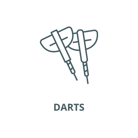 Darts line icon, vector. Darts outline sign, concept symbol, illustration