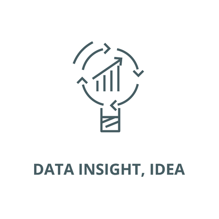 Data insight, idea line icon, vector. Data insight, idea outline sign, concept symbol, illustration