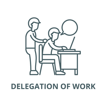 Delegation of work line icon, vector. Delegation of work outline sign, concept symbol, illustration Illustration