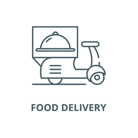 Delivery from restaurants line icon, vector. Delivery from restaurants outline sign, concept symbol, illustration Illustration