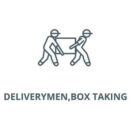 Deliverymen,box taking line icon, vector. Deliverymen,box taking outline sign, concept symbol, illustration