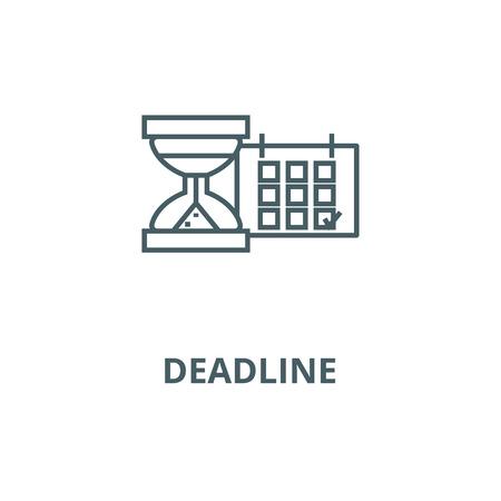 Deadline, calendar with sand gla line icon, vector. Deadline, calendar with sand gla outline sign, concept symbol, illustration