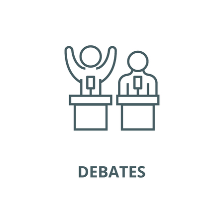 Debates,lecture,cogency,persuasion line icon, vector. Debates,lecture,cogency,persuasion outline sign, concept symbol, illustration
