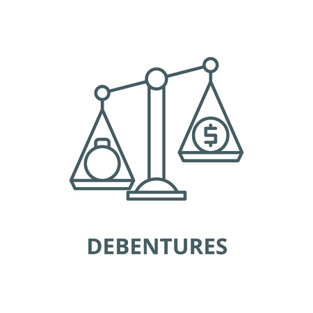 Debentures line icon, vector. Debentures outline sign, concept symbol, illustration