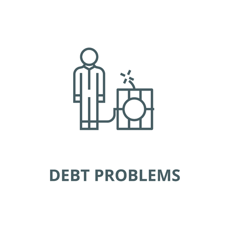 Debt problems,man with dynamite bomb  line icon, vector. Debt problems,man with dynamite bomb  outline sign, concept symbol, illustration Standard-Bild - 120716016