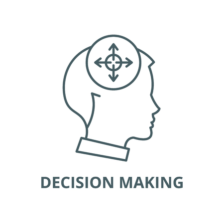 Decision making line icon, vector. Decision making outline sign, concept symbol, illustration