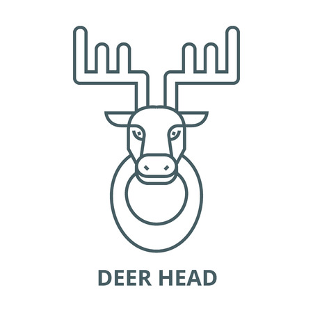 Deer head line icon, vector. Deer head outline sign, concept symbol, illustration