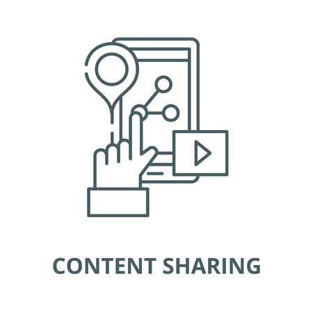 Content sharing line icon, vector. Content sharing outline sign, concept symbol, illustration Çizim